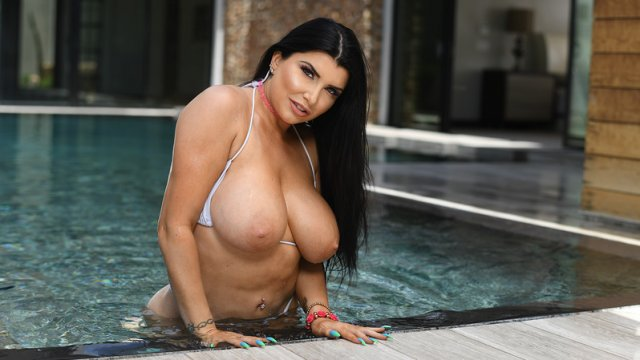 Romi Rain Pounded By The Pool